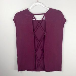 Forever 21 Maroon Criss Cross Open Back Top